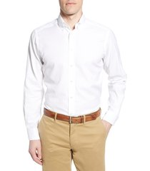 men's big & tall eton soft casual line contemporary fit oxford casual shirt, size 18 - white