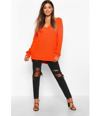 oversized truitje met v-hals, burnt orange