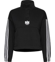 adicolor 3d trefoil fleece half-zip sweatshirt w sweat-shirt tröja svart adidas originals