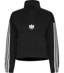 adicolor 3d trefoil fleece half-zip sweatshirt w sweat-shirts & hoodies fleeces & midlayers svart adidas originals