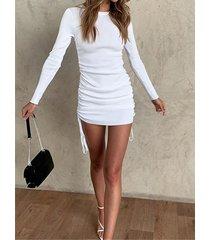 punto cordón cuello redondo mangas largas mini vestido