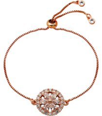 cubic zirconia flower with halo bolo bracelet