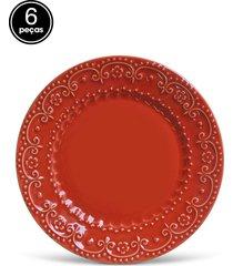 conjunto 6pçs prato raso 26cm esparta vermelho