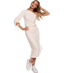 lange jurk moe m580 één-schouder jurk met ruches aan de zijkanten - crème