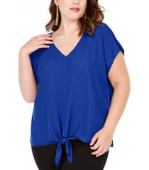 inc plus size tie-hem top, created for macy's
