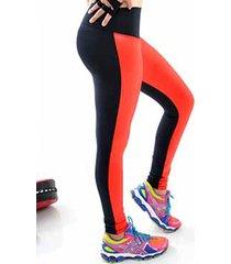 calça mama latina legging suplex e cirre preto-vermelho
