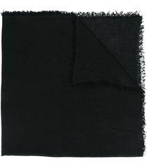 ann demeulemeester frayed edge scarf - black