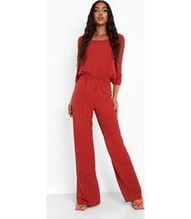 tall wide leg jumpsuit met driekwartsmouwen en lage ronde hals, berry