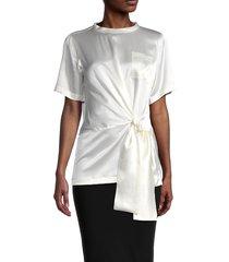 max mara women's nitra silk tie blouse - white - size 8