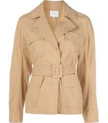 vince belted oversized-pocket jacket - yellow