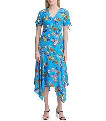 floral short-sleeve midi dress