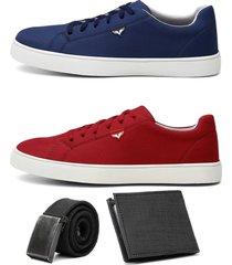 dois sapatãªnis jogger masculino urbano confort com carteira e cinto - azul/branco/cinza/vermelho - masculino - camurã§a - dafiti