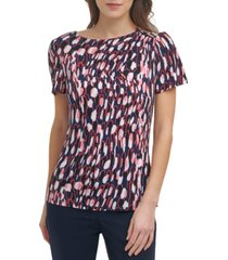 dkny petite printed button-shoulder top