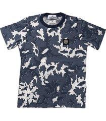 stone island blue camoflage print short sleeve t shirt