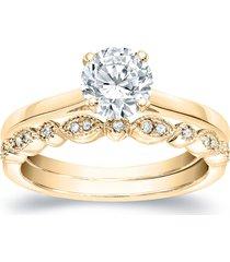 0.1ctw sim. diamond 14k yellow gold finish bridal wedding ring set