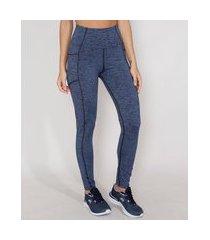 calça legging feminina esportiva ace com bolsos e costuras azul