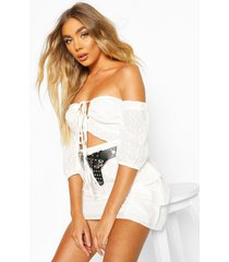 broderie anglais puff sleeve crop top, white