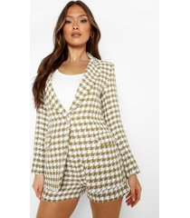 getailleerde boucle dogtooth blazer, olive