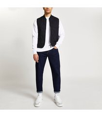river island mens black quilted gilet