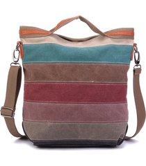 donna borsa a tracolla nastro a righe con manici in tela di contrasto in colore borsa a spalla