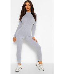 funnel neck long sleeve unitard jumpsuit, grey marl