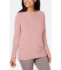 karen scott cotton boat-neck sweater, created for macy's
