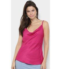 blusa morena rosa decote degage alça básica feminina