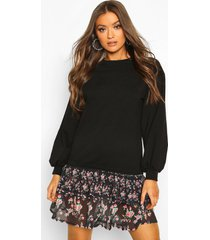 drop hem ditsy floral layered sweatshirt dress, black