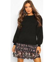 bloemenpatroon sweatshirt jurk met losvallende zoom, zwart