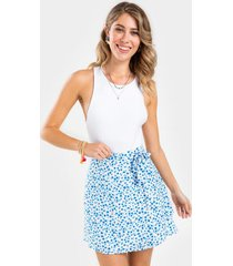 tommie floral front tie mini skirt - cobalt