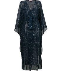 gilda & pearl vestido kaftan 'luna' - azul