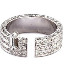 'disruptive' diamond 18k white gold three tier open ring