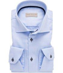 john miller heren overhemd licht contrast twill widespread tailored fit blauw