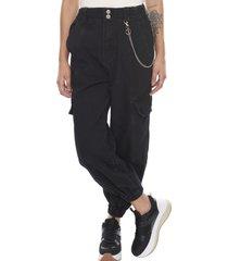 jogger jeans cargo cadena negro  mujer corona