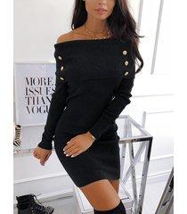 manga larga superpuesta con hombros descubiertos mini vestido