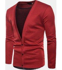 cappotto per uomo in maglia tinta unita monopetto con cuciture in maglia casual