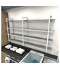 prateleira industrial lavanderia aço cor branco 180x30x98cm cxlxa cor mdf cinza modelo ind56clav