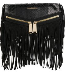 dsquared2 rock fringe clutch - black
