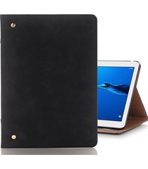 para huawei mediapad m3 lite 10 vintage book style flip horizontal pu funda de cuero con soporte y medio ambiente y la cartera y ranuras para tarjetas marco de la foto (negro)