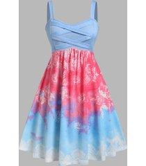 plus size flower tie dye criss cross backless dress