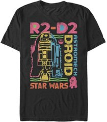 star wars men's classic rainbow retro r2-d2 astromech droid short sleeve t-shirt