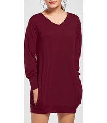 stylish plunging neck long sleeve pocket design solid color women's dress