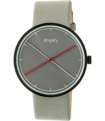 simplify quartz the 4100 black case, genuine grey leather watch 43mm