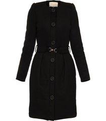 płaszcz z paskiem czarny