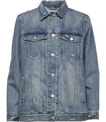 distressed over d icon denim jacket jeansjack denimjack blauw gap