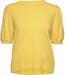 puff shoulder top t-shirts & tops knitted t-shirts/tops geel davida cashmere