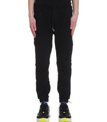marcelo burlon cross biker pants in black cotton