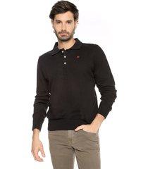 sweater negro 1 preppy m/l tejido delgado cuello polo