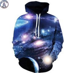 space galaxy 3d sweatshirts with hat men/women hooded hoodies print planets whi
