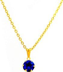 gargantilha horus import ponto luz banhada ouro amarelo 18 k - 1060150 - azul topázio